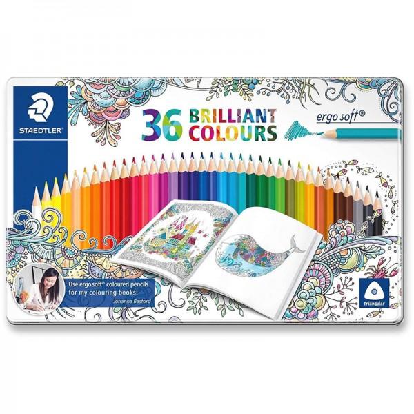 Цветни моливи 36цв. Staedtler Ergo Soft метална кутия