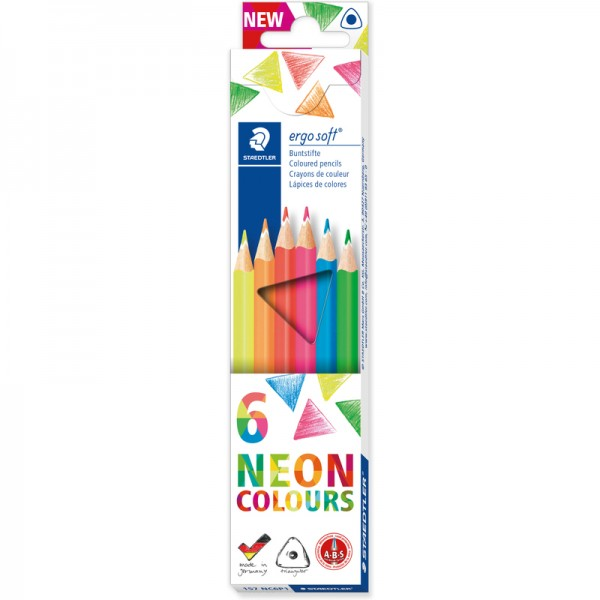 Цветни моливи НЕОН 6цв. Staedtler Ergo Soft