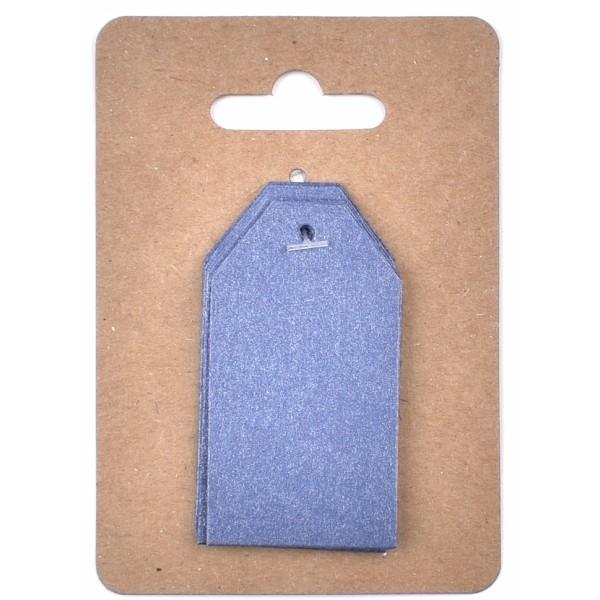 Тъмно Сини Тагчета от Перлен Картон 3 x 4 cm, 12 бр
