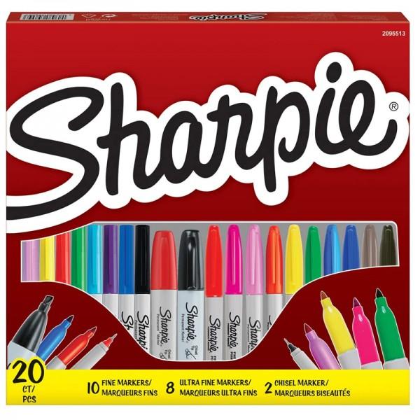 Комплект перманентни маркери Sharpie Big Pack Mix, 20 броя
