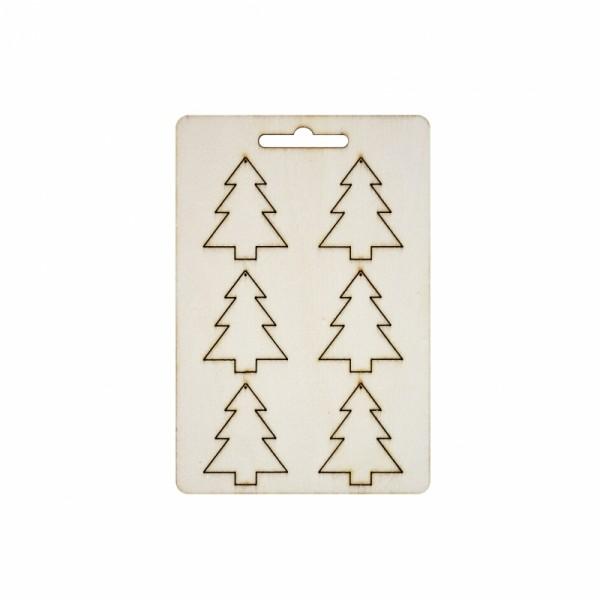 Дървени Коледни Фигурки - Елхички 40 mm, 6 бр