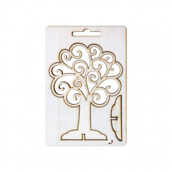 Елементи от бирен картон/шперплат - 3D Дърво Ажур, 12 cm, 1 бр.