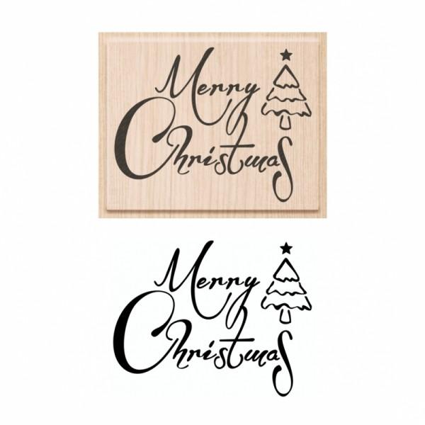 Коледен Текстови Печат с Надпис на Английски Език - Merry Christmas - с Елхичка