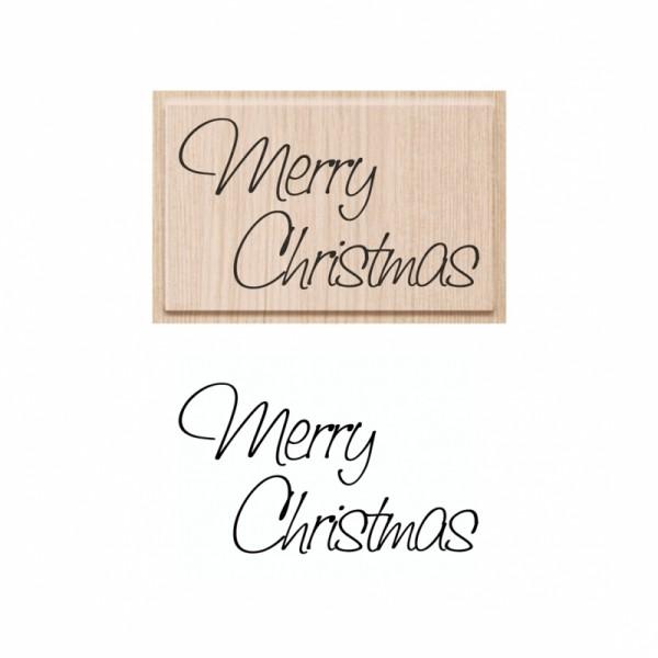 Коледен Текстови Печат с Надпис на Английски Език - Merry Christmas - 70 x 42 mm