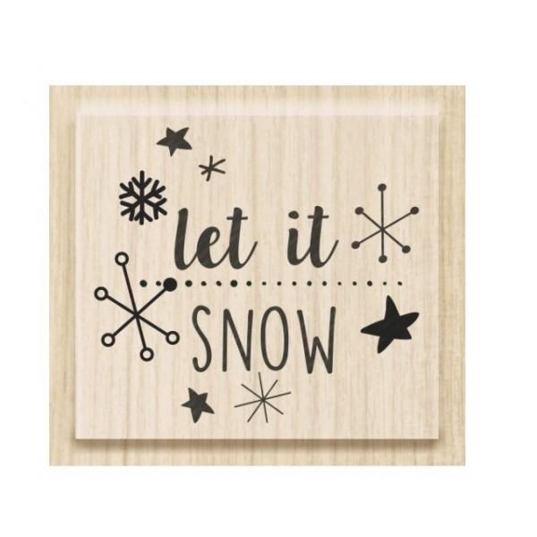 Коледен Текстови Печат с Надпис на Английски Език - Let it snow