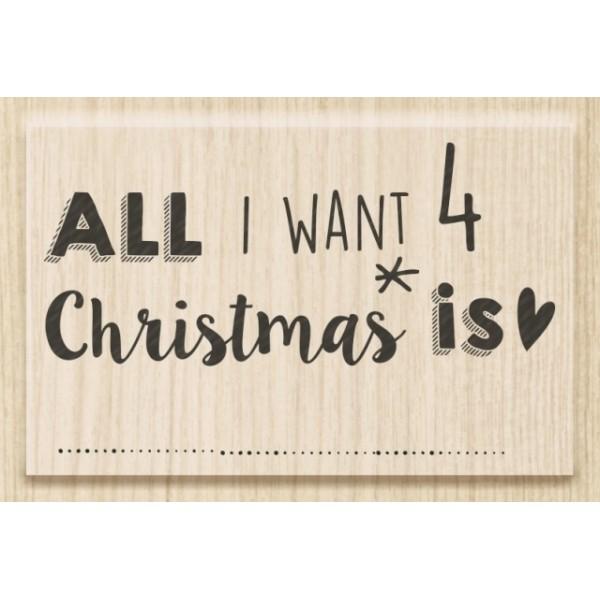 Коледен Текстови Печат с Надпис на Английски Език - All I Want 4 Christmas