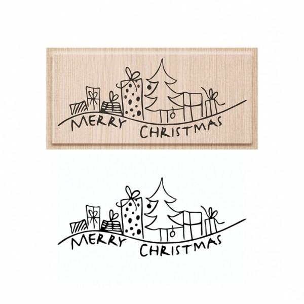 Коледен Текстови Печат с Надпис на Английски Език - Merry Christmas - Елха с Подаръци