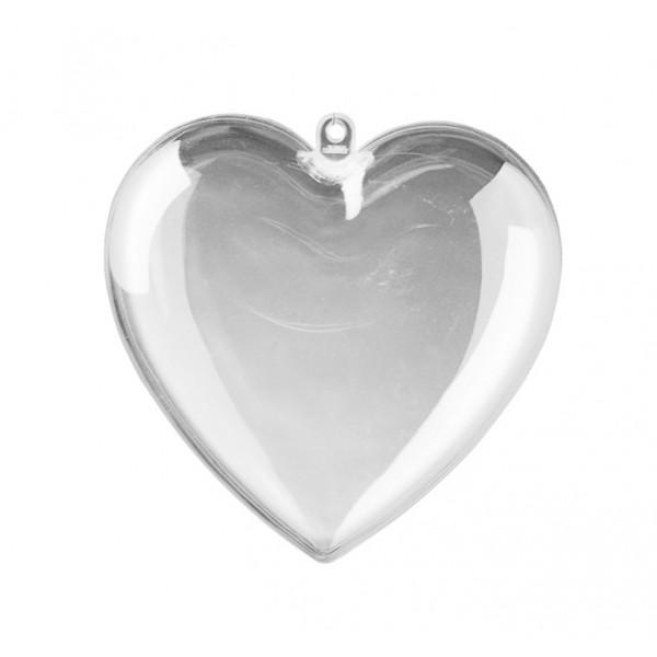 Прозрачно Пластмасово Сърце от Две Части 8 cm