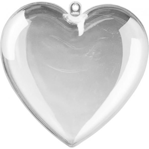 Прозрачно Пластмасово Сърце от Две Части 10 cm