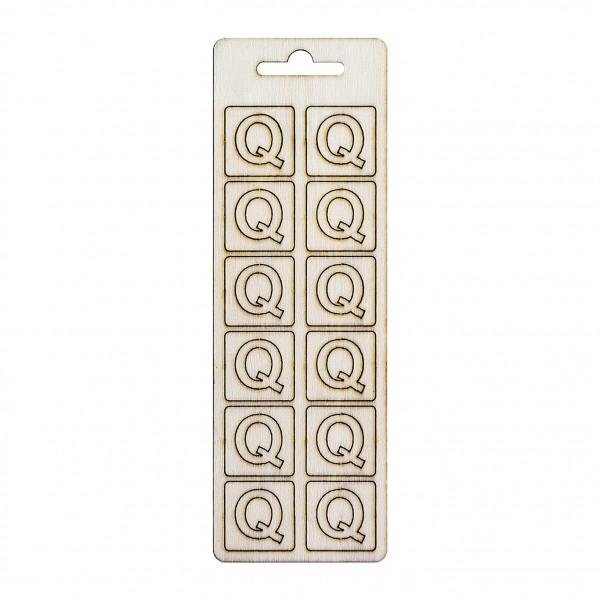 Елементи от бирен картон/шперплат - буква Q, 20 mm, 12 бр.
