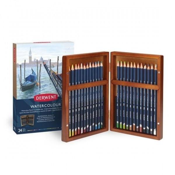 Derwent комплект 24цв Watercolour в дървена кутия