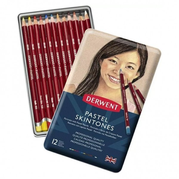 Комплект с 12 Цвята Пастелни Моливи Derwent Pastel Skin Tone - За Рисуване на Портрети