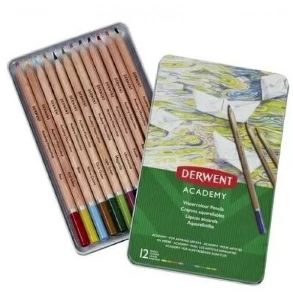 Комплект с Акварелни Моливи Derwent Academy 12 Цвята