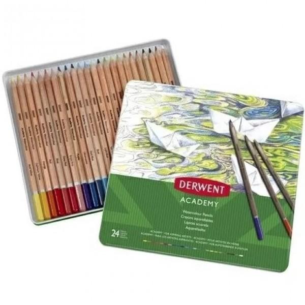 Комплект с Акварелни Моливи Derwent Academy 24 Цвята