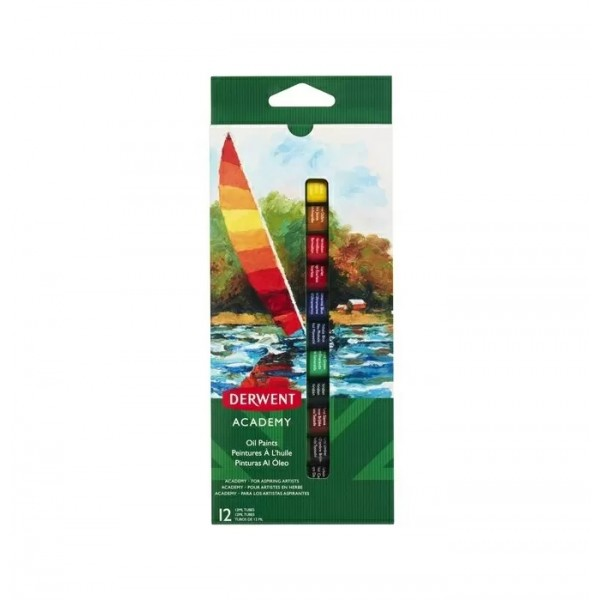 Комплект с Маслени Бои - Derwent Academy 12 ml 12 Цвята