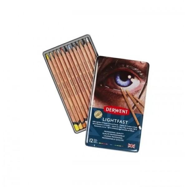 Професионални Цветни Моливи Derwent Lightfast - Комплект с 12 цвята