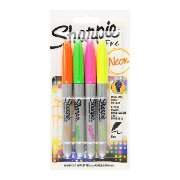 Комплект перманентни маркери Sharpie, 4 неонови цвята, блистер
