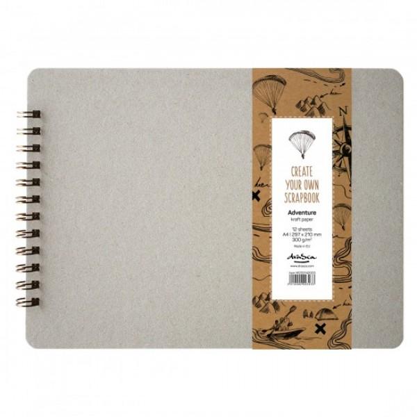 Скрапбук 'Scrapbook Adventure' Крафт картон 300g 12 листа, A4 (29.7*21 cm)