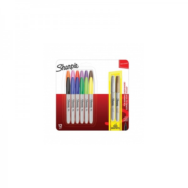 Комплект перманентни маркери Sharpie, 12 + 2 металикови броя