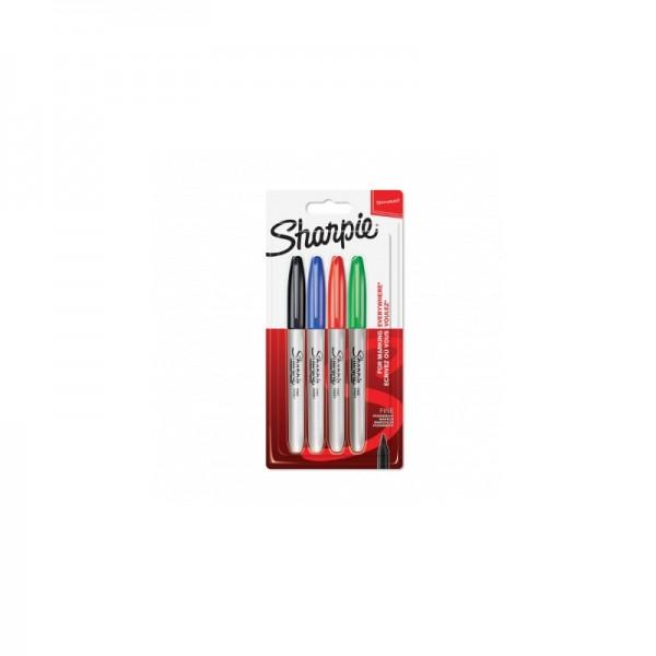 Комплект перманентни маркери Sharpie, F, 4 цвята, блистер