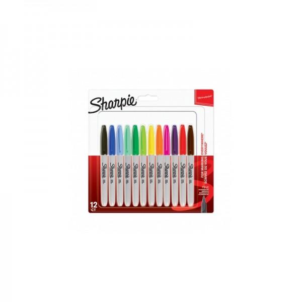 Комплект перманентни маркери Sharpie, F, 12 цвята, блистер