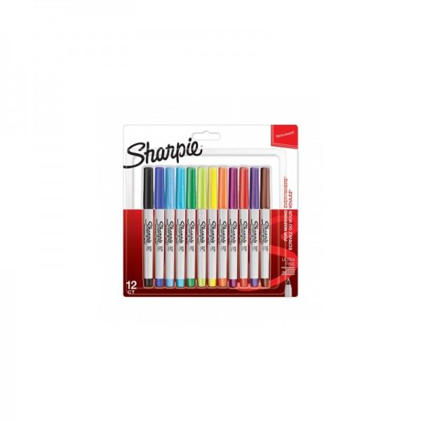 Комплект перманентни маркери Sharpie, UF, 12 цвята, блистер