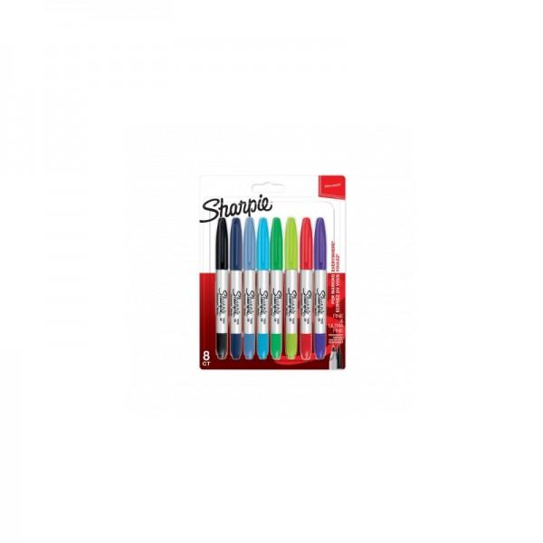 Комплект перманентни маркери Sharpie Twin Tip, 8 цвята, блистер