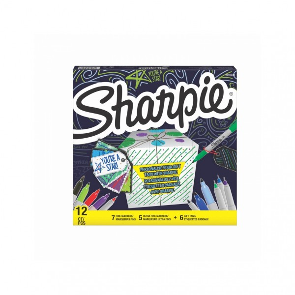 Комплект перманентни маркери Sharpie 12 броя + 6 етикета