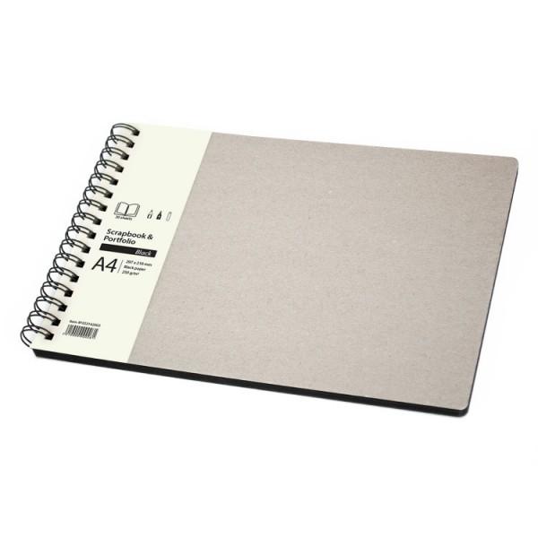 Скицник A4 пейзаж 30л черен картон 'Scrapbook & Portfolio Black'
