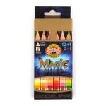 """Многоцветни моливи """"Magic"""" 12+1бр.+острилка и гума"""