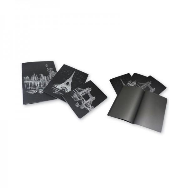 Тетрадка 14x20см Black, 42 черни листи, шита