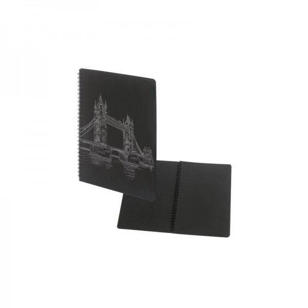 Тетрадка 17x24см Black, 40 черни листи, спирала