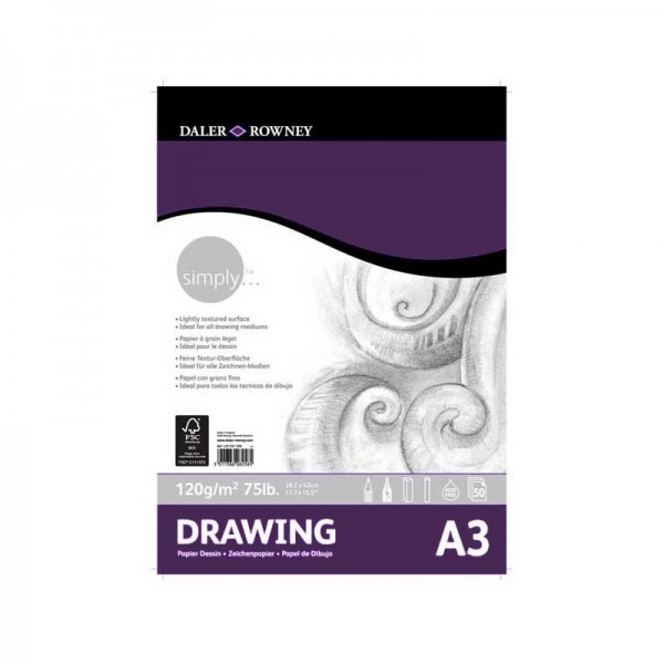 Daler Rowney скицник Simply Drawing pad A3 120g, 50л
