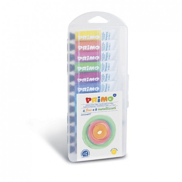 12 цвята Темпера PRIMO (4+8) в тубички