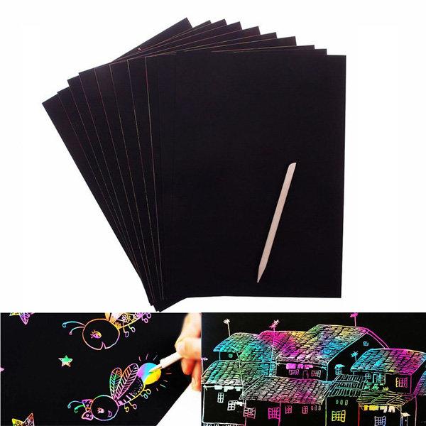 Черна хартия за издраскване, 10 листа в пакет