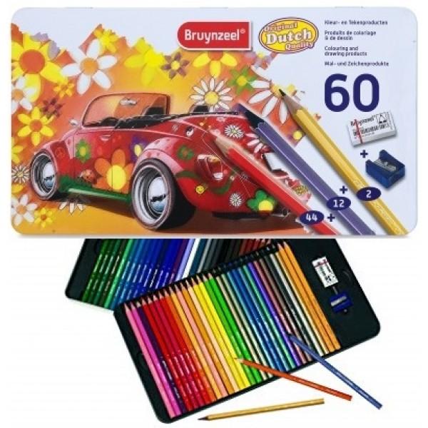 BRUYNZEEL 60 COLOUR PENCILS - Цветни моливи за дизайн и рисуване 60цв / метална кутия
