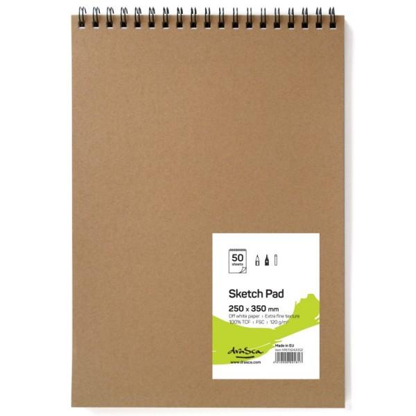 Скицник 'Sketch Pad' спирала 25*35 cm 50 листа натурално бяла хартия 120g