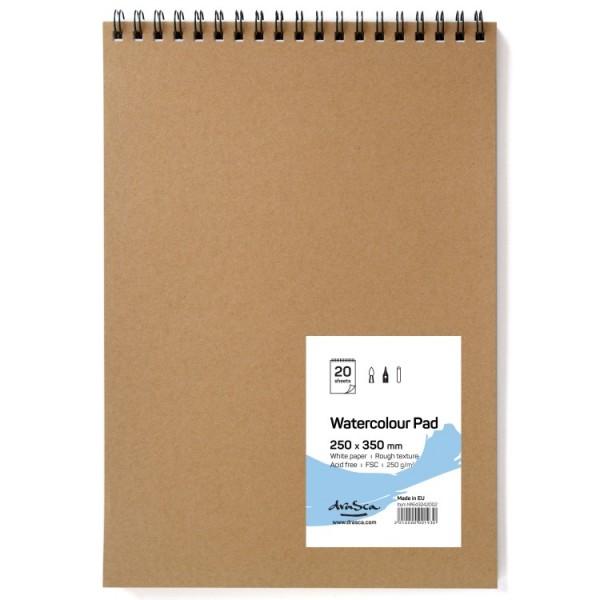 Скицник 'Watercolour Pad' спирала 25*35 cm 20 листа бял картон 250g