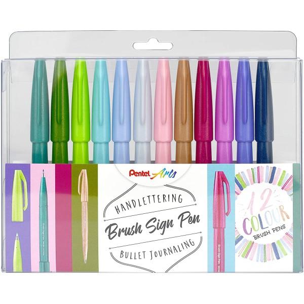 Комплект маркери Pentel Brush Sign Pens 12 цвята