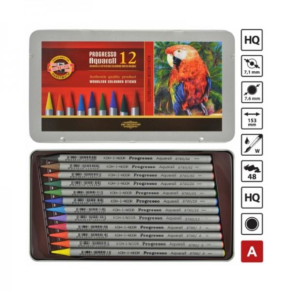 Комплект акварелни моливи 12цв. KOH-I-NOOR в метална кутия