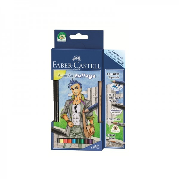 Акварелни моливи комплект Art Grip - Anime art College - Faber Castell