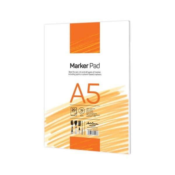Скицник 'Marker Pad' лепен A5 (14.8*21 cm) 20 листа бяла хартия 70g