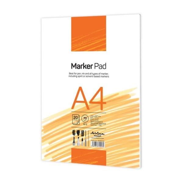 Скицник 'Marker Pad' лепен A4 (21*29.7 cm) 20 листа бяла хартия 70g