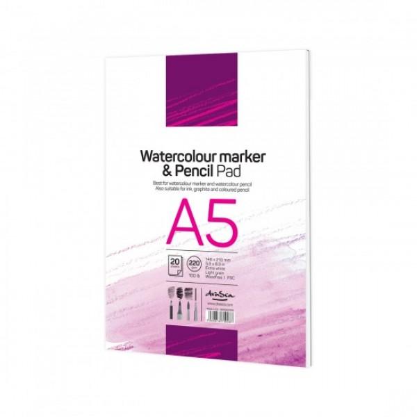 Скицник 'Watercolour Marker & Pencil Pad' лепен A5 (14.8*21 cm) 20 листа бял картон 220 g