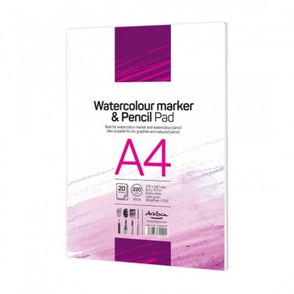 Скицник 'Watercolour Marker & Pencil Pad' лепен A4 (21*29.7 cm) 20 листа бял картон 220 g