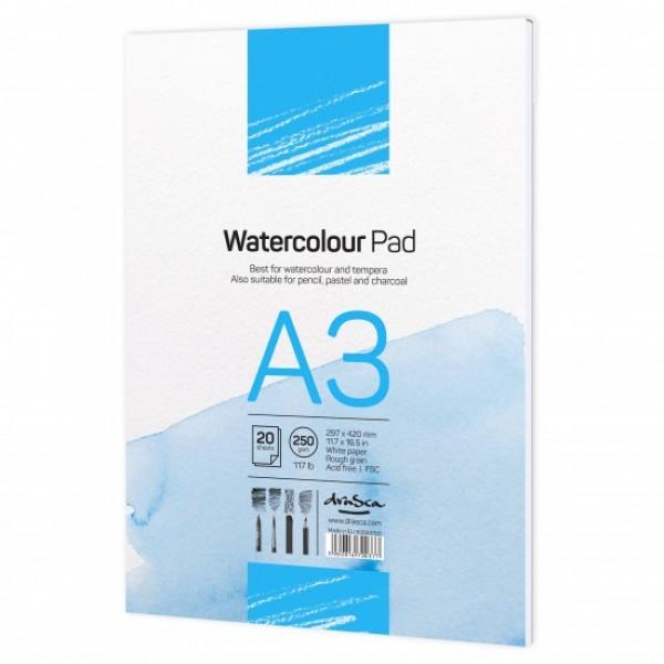 Скицник 'Watercolour Pad' лепен A3 (29.7*42 cm) 20 листа бял картон 250g