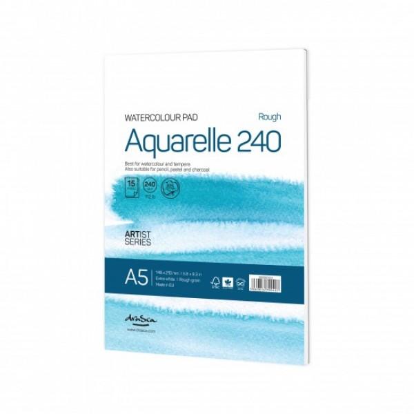 Скицник 'Aquarelle Rough 240' лепен A5 (14.8*21 cm) 15 листа бял картон 240 g 20% памук