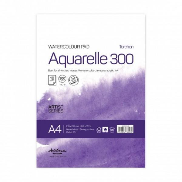 Скицник 'Aquarelle Torchon 300' лепен A4 (21*29.7 cm) 10 листа натурално бял картон 300 g 60% памук
