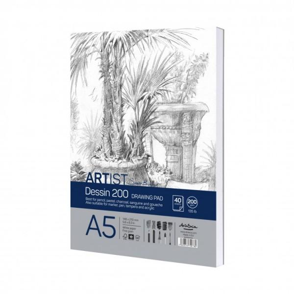 Скицник 'Artist S.Boykinov drawing pad Dessin 200' лепен A5 (14.8*21 cm) 40 листа 200 g