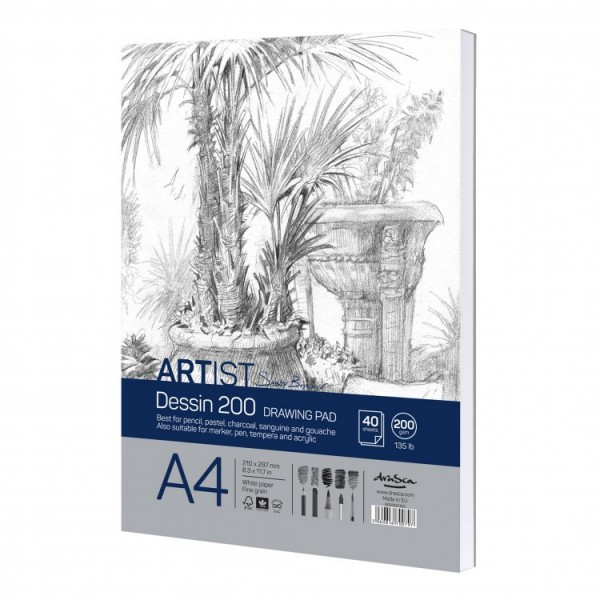 Скицник 'Artist S.Boykinov drawing pad Dessin 200' лепен A4 (21*29.7 cm) 40 листа 200 g